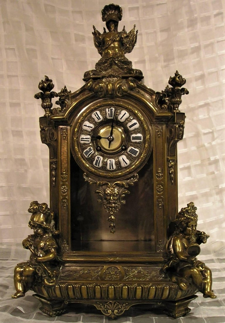 Louis XVI French Lemerle Charpentier Figural Silver Gilt Bronze Mantel Clock, 19th Century For Sale
