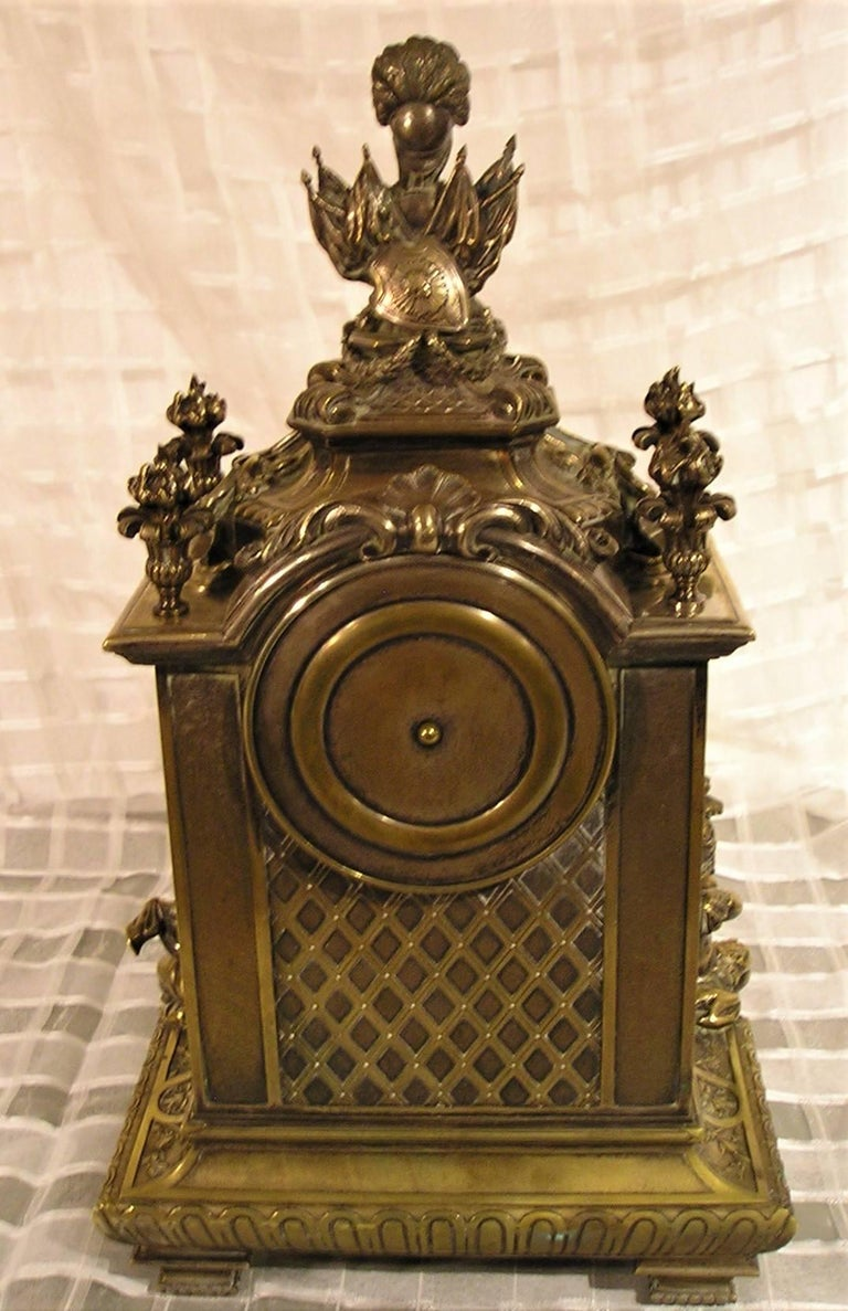 French Lemerle Charpentier Figural Silver Gilt Bronze Mantel Clock, 19th Century For Sale 4