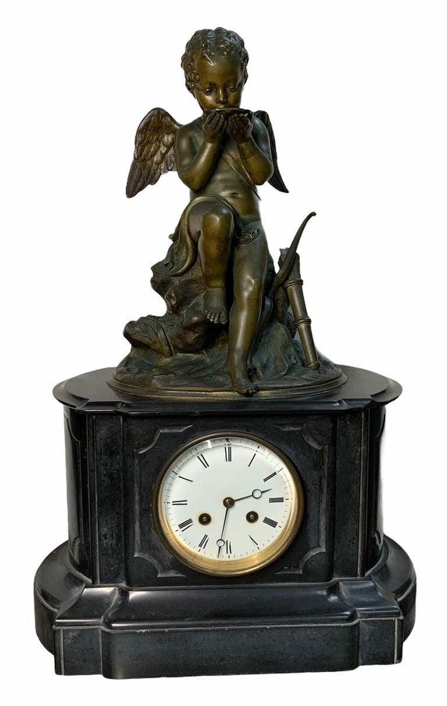 French Lemire Bronze Cherub Sculpture-L.Marti Et Cíe Black Marble Mantel Clock For Sale 6