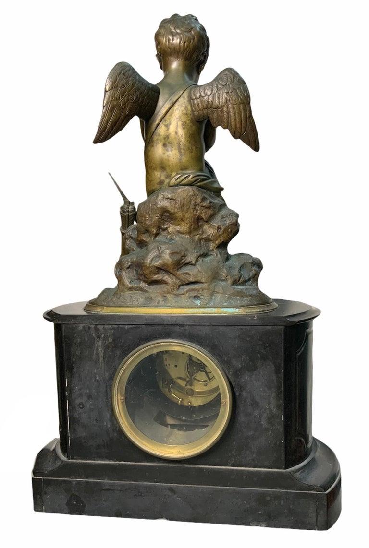 French Lemire Bronze Cherub Sculpture-L.Marti Et Cíe Black Marble Mantel Clock For Sale 7