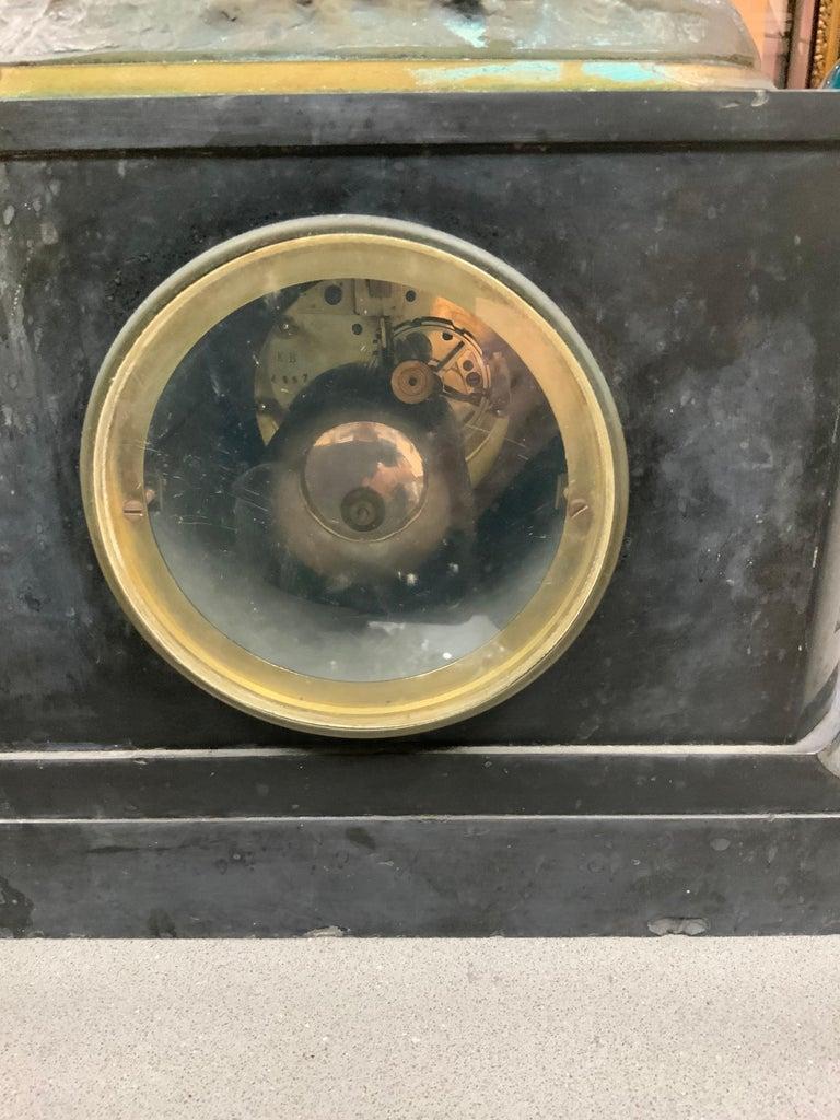 French Lemire Bronze Cherub Sculpture-L.Marti Et Cíe Black Marble Mantel Clock For Sale 8