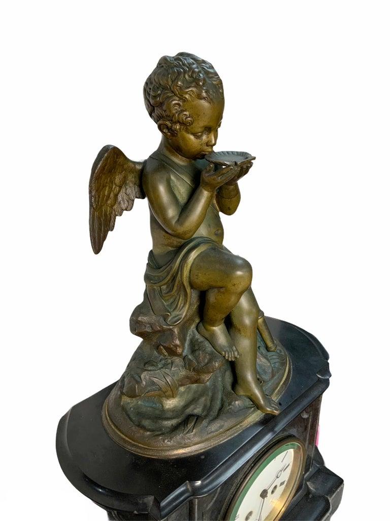 Neoclassical French Lemire Bronze Cherub Sculpture-L.Marti Et Cíe Black Marble Mantel Clock For Sale