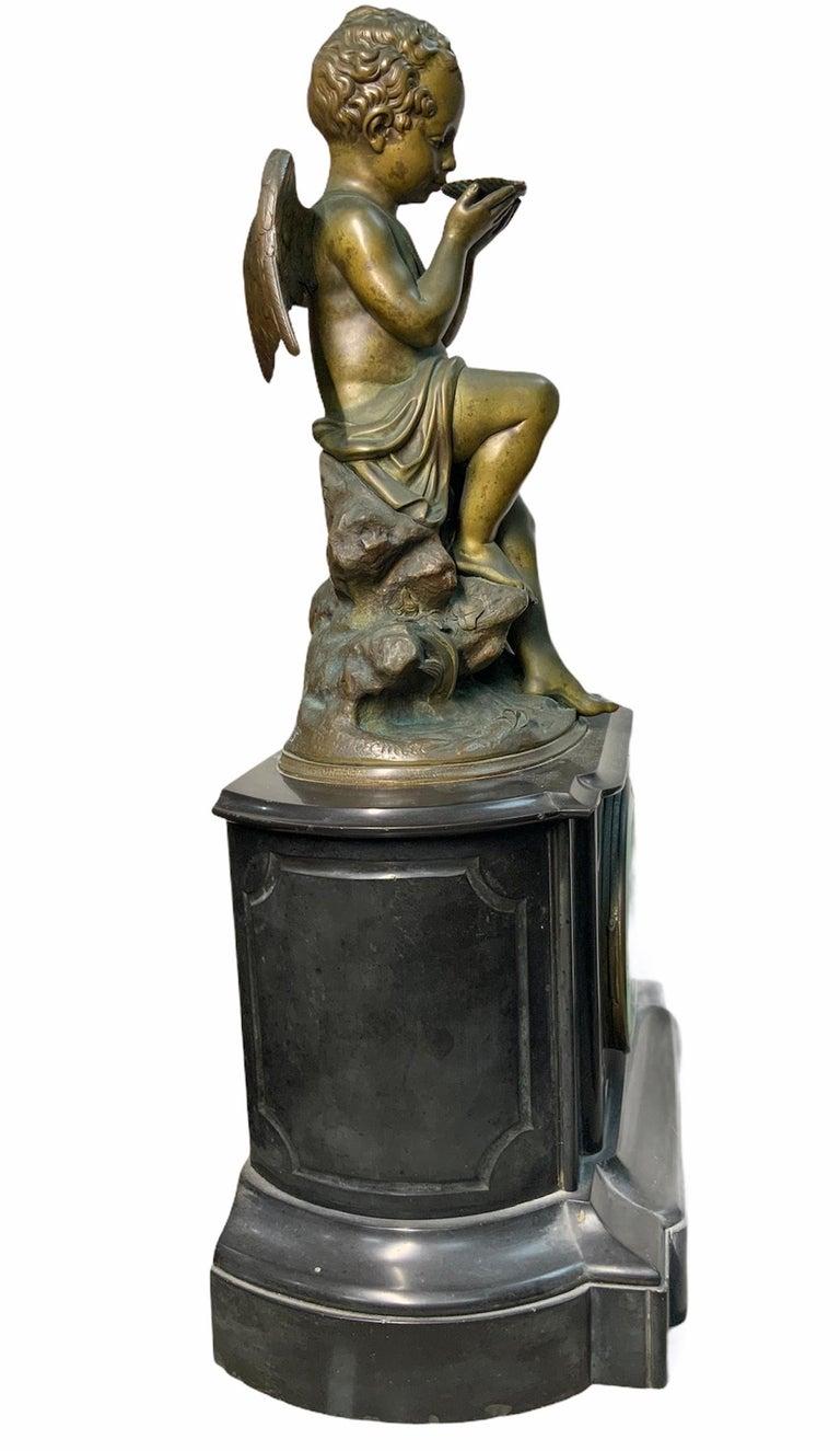 Patinated French Lemire Bronze Cherub Sculpture-L.Marti Et Cíe Black Marble Mantel Clock For Sale