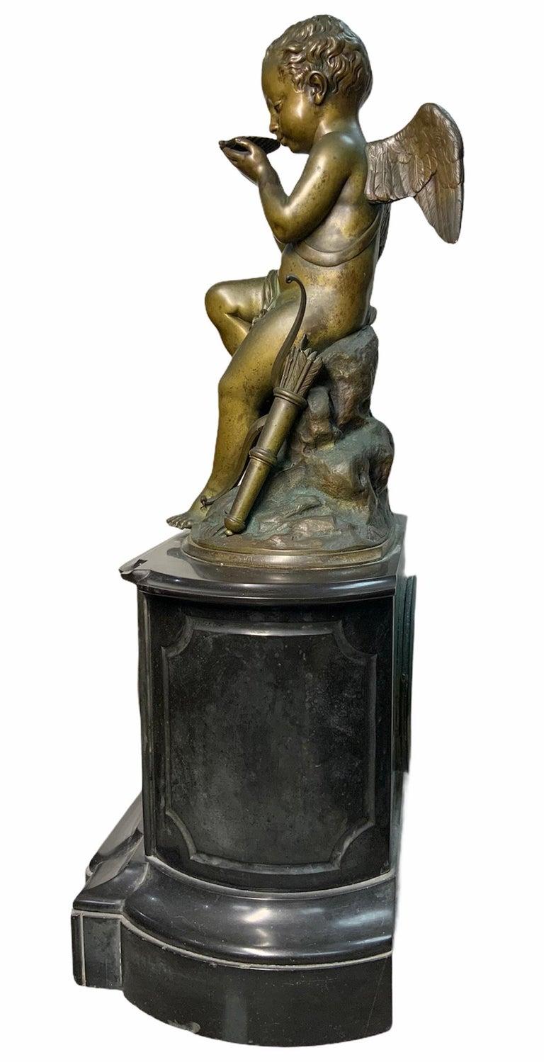 French Lemire Bronze Cherub Sculpture-L.Marti Et Cíe Black Marble Mantel Clock In Good Condition For Sale In Guaynabo, PR