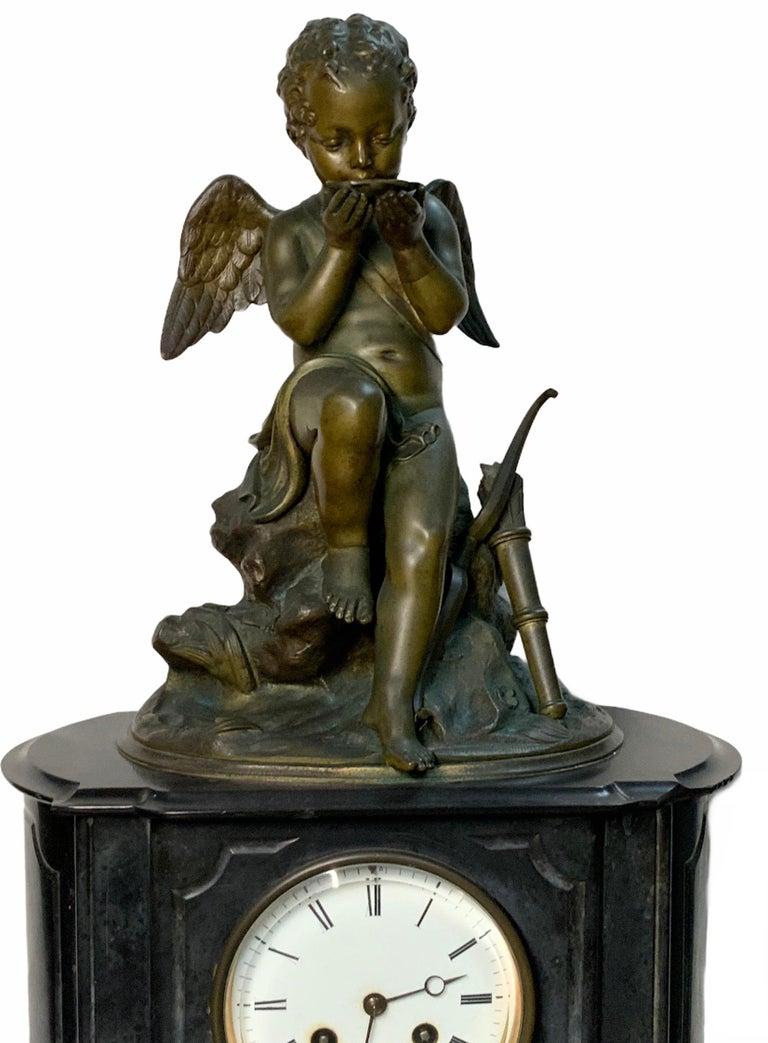 French Lemire Bronze Cherub Sculpture-L.Marti Et Cíe Black Marble Mantel Clock For Sale 1