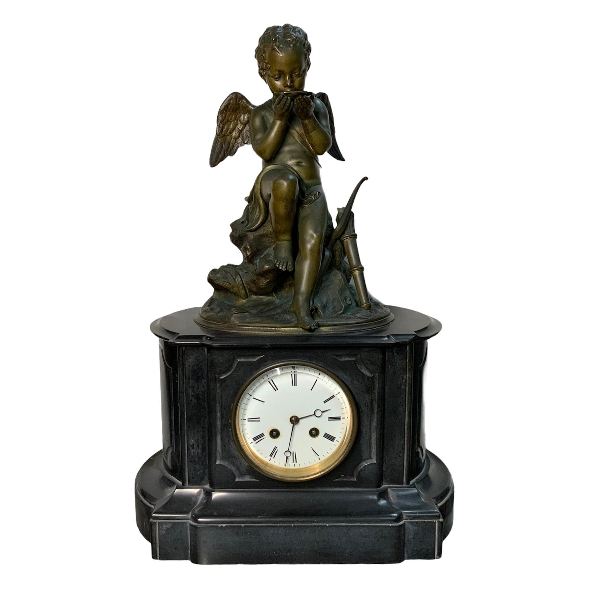 French Lemire Bronze Cherub Sculpture-L.Marti Et Cíe Black Marble Mantel Clock