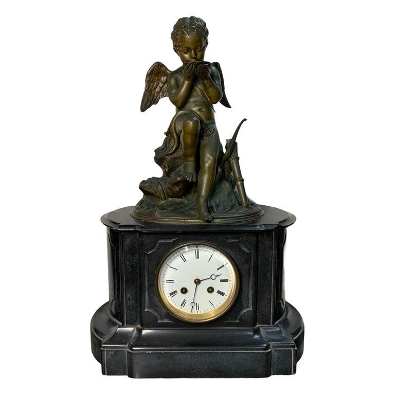 French Lemire Bronze Cherub Sculpture-L.Marti Et Cíe Black Marble Mantel Clock For Sale