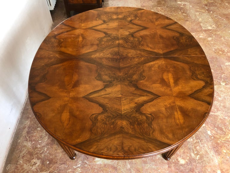 French Liberty Art Nouveau Dining Table in Walnut, 1920s For Sale 7