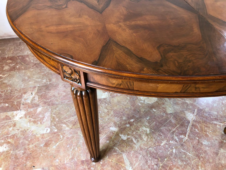 French Liberty Art Nouveau Dining Table in Walnut, 1920s For Sale 8