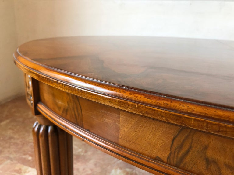 French Liberty Art Nouveau Dining Table in Walnut, 1920s For Sale 9
