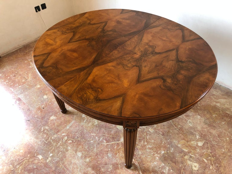 French Liberty Art Nouveau Dining Table in Walnut, 1920s For Sale 10
