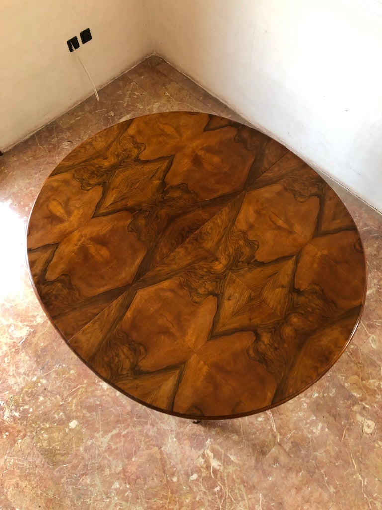 French Liberty Art Nouveau Dining Table in Walnut, 1920s For Sale 11
