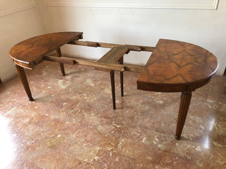 French Liberty Art Nouveau Dining Table in Walnut, 1920s For Sale 13