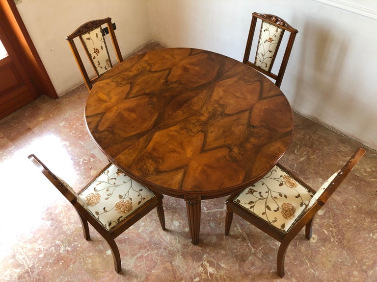 French Liberty Art Nouveau Dining Table in Walnut, 1920s For Sale 15