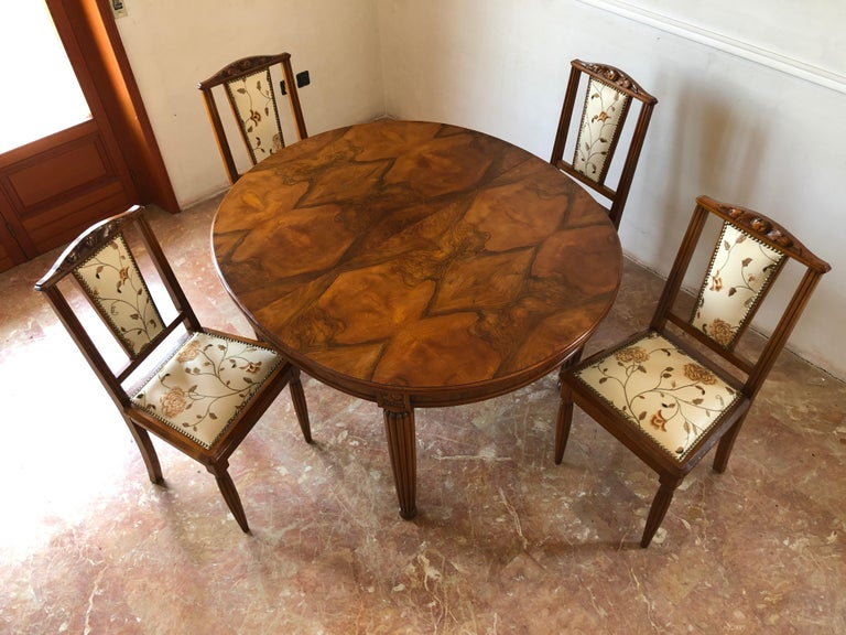 French Liberty Art Nouveau Dining Table in Walnut, 1920s For Sale 16