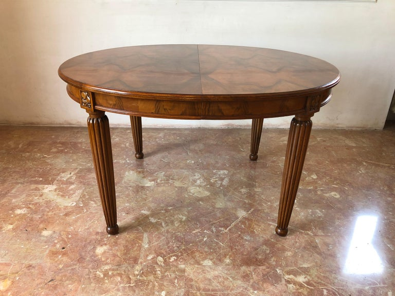Early 20th Century French Liberty Art Nouveau Dining Table in Walnut, 1920s For Sale