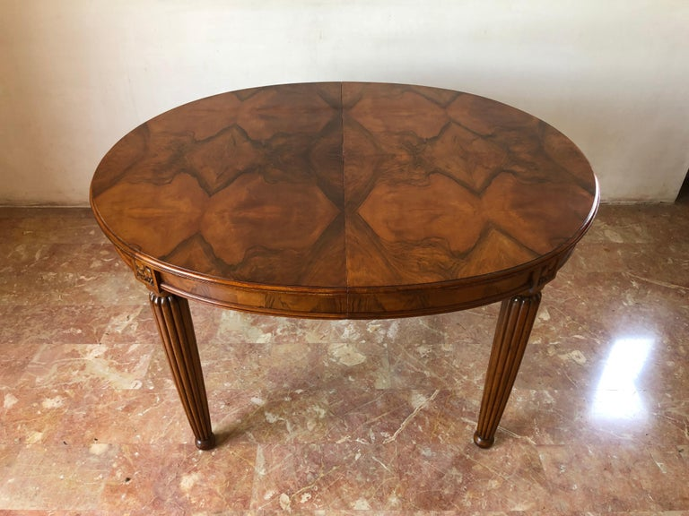 French Liberty Art Nouveau Dining Table in Walnut, 1920s For Sale 1