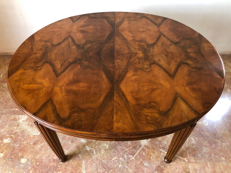 French Liberty Art Nouveau Dining Table in Walnut, 1920s For Sale 2