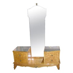 French Light Burled Wood Dressing Table
