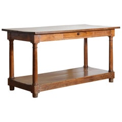 French Light Walnut 1-Drawer Drapers Table, Early 2nd Quarter 19th Century