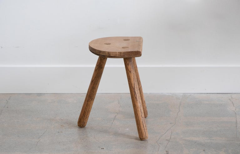 20th Century French Light Wood Tripod Stool For Sale