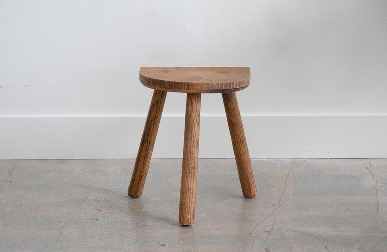 Oak French Light Wood Tripod Stool For Sale
