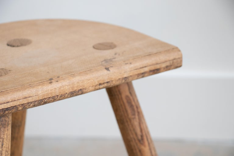 French Light Wood Tripod Stool For Sale 2