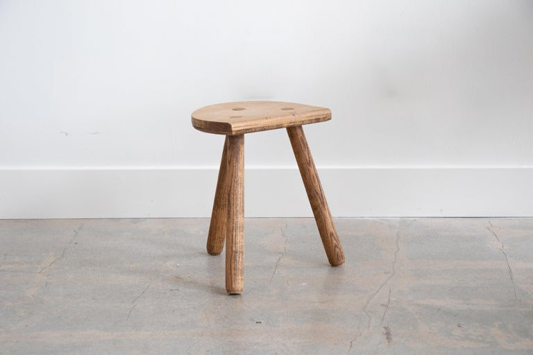 French Light Wood Tripod Stool For Sale 4
