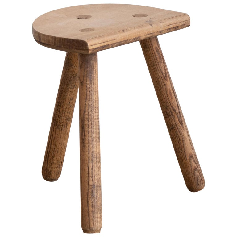 French Light Wood Tripod Stool For Sale