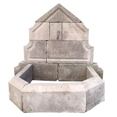 French Limestone Wall Fountain Handcrafted 20th Century, France