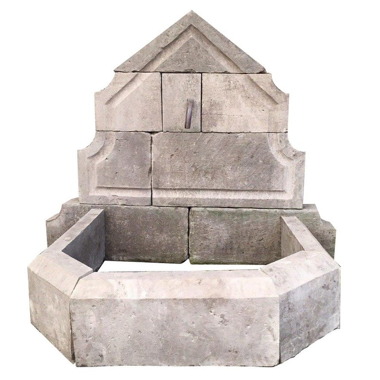 French Limestone Wall Fountain Handcrafted 20th Century, France For Sale