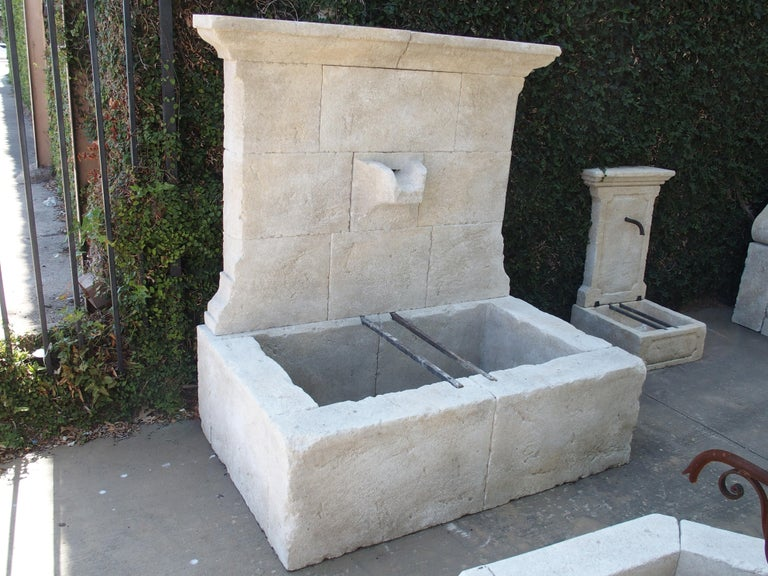 French Limestone Wall Fountain with Carved Stone Spout For Sale 8