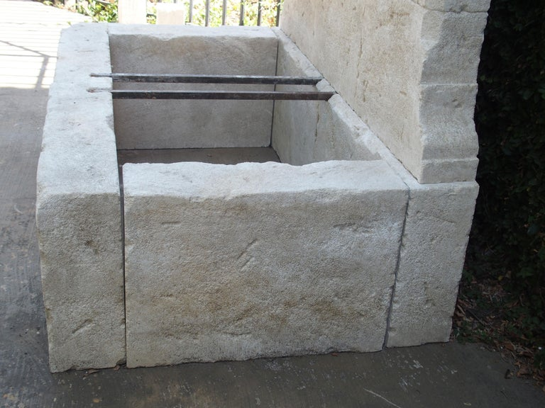 French Limestone Wall Fountain with Carved Stone Spout For Sale 1