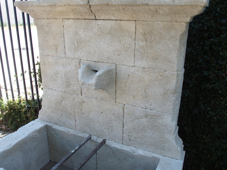 French Limestone Wall Fountain with Carved Stone Spout For Sale 3