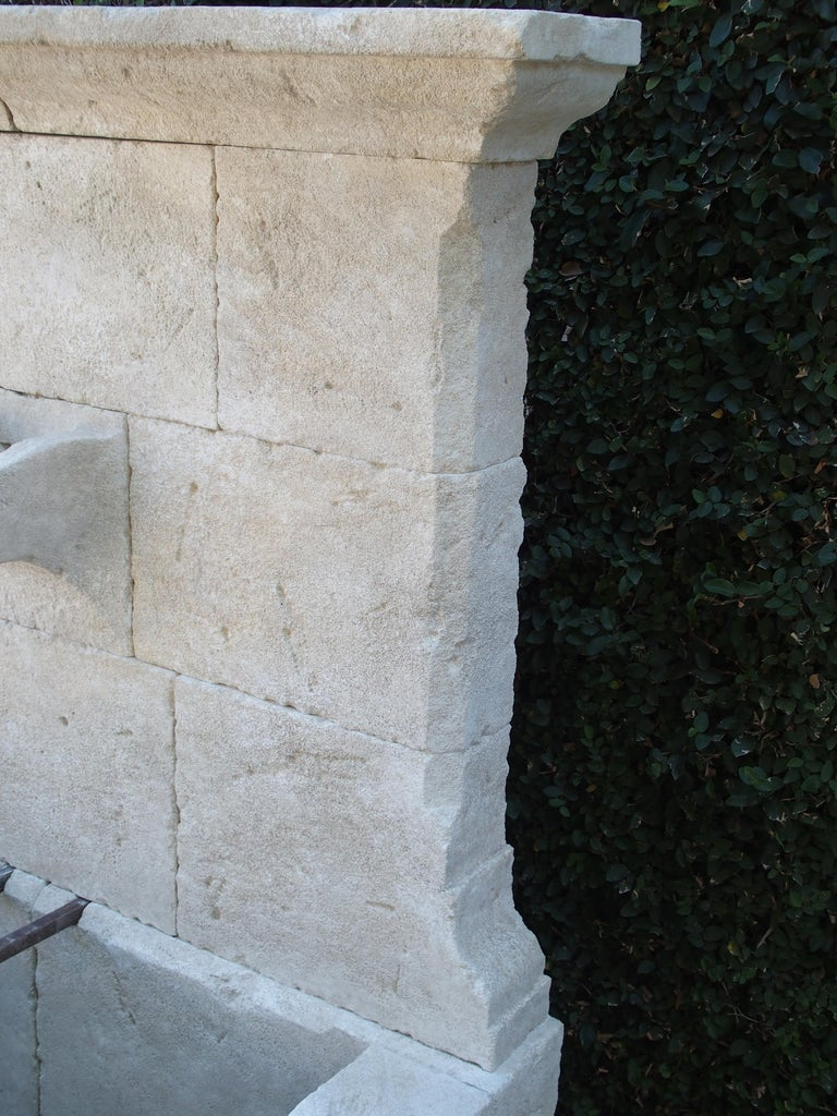 French Limestone Wall Fountain with Carved Stone Spout For Sale 4