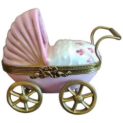 French Limoges Baby Pram with Baby