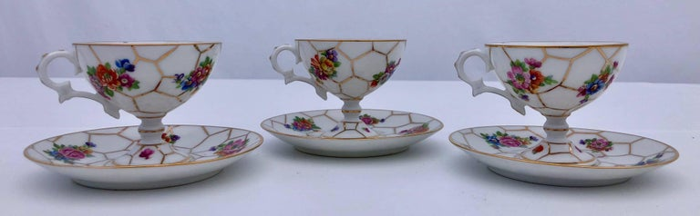 Napoleon III Limoges Bone China Tea Cups with Legs and Saucers, Set of Three, Early 1900s For Sale