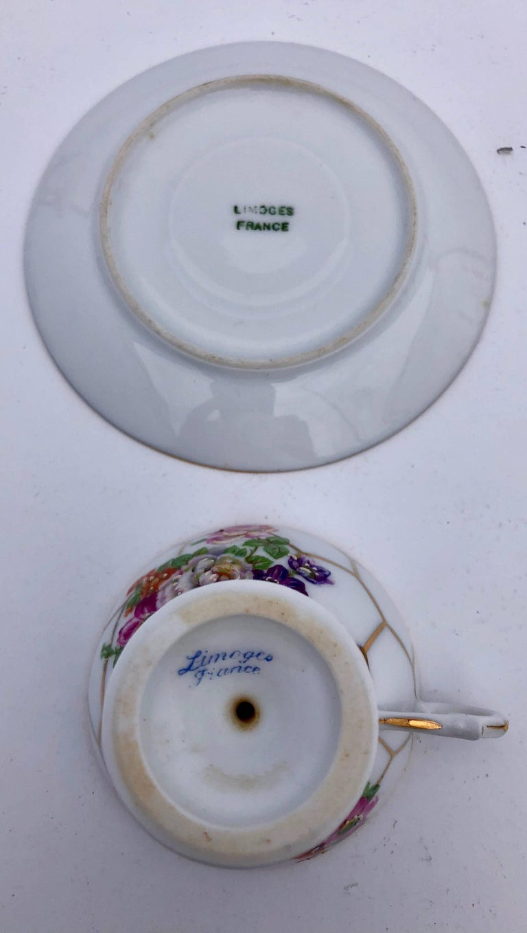 French Limoges Bone China Tea Cups with Legs and Saucers, Set of Three, Early 1900s For Sale