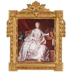 French Limoges Enamel Portrait Plaque of Madame De Pompadour