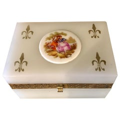 French Limoges Milk Glass Vanity Casket Box with Porcelain Plaque