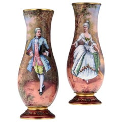 French Limoges Pair of Hand Painted Enamel Vases, circa 1910