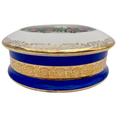 French Limoges Porcelain Candy Box with Blue and Gold Trim, Fragonard like Scene