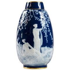 French Limoges Porcelain Cobalt Blue Pate-Sur-Pate Vase