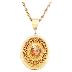French Limoges Style Romantic Serenade Locket Necklace, 1960s