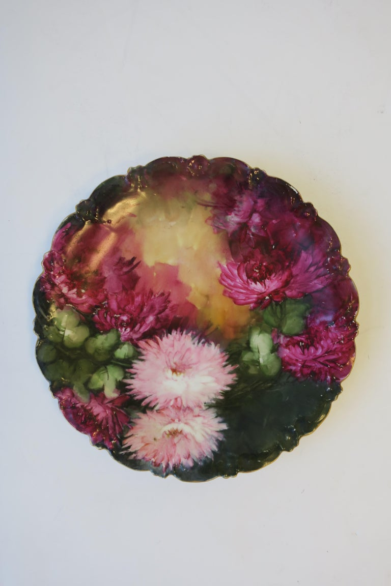 Rococo French Limoges Wall Art Painted Plate, ca. Early-20th Century For Sale