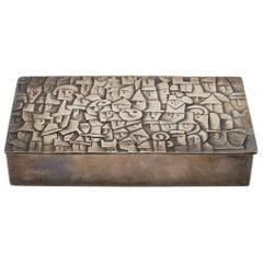 """French Line Vautrin """"Heureux Parmi La Foule"""" Silvered Bronze Box"""
