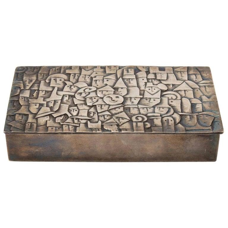 """French Line Vautrin """"Heureux Parmi La Foule"""" Silvered Bronze Box For Sale"""