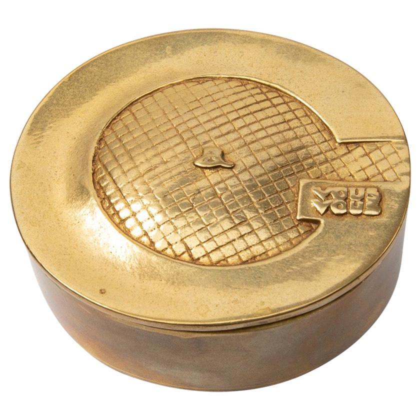French, Line Vautrin, J'ai Grand Appétit de Vous, Gilded Bronze Box