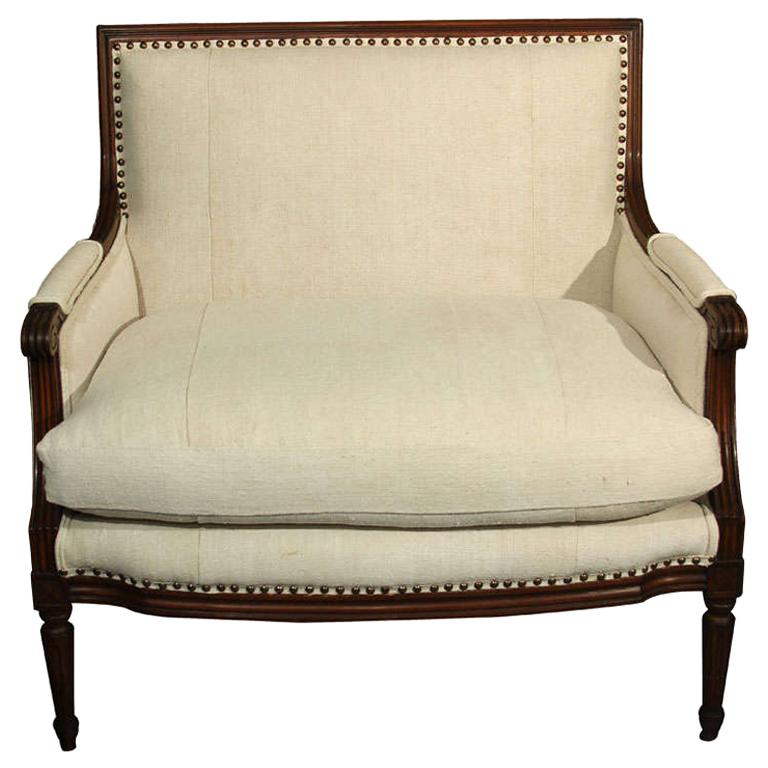 French Linen Loveseat For Sale
