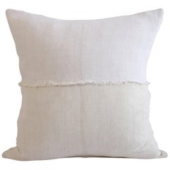 French Linen Pillow in Off White with Fray Details